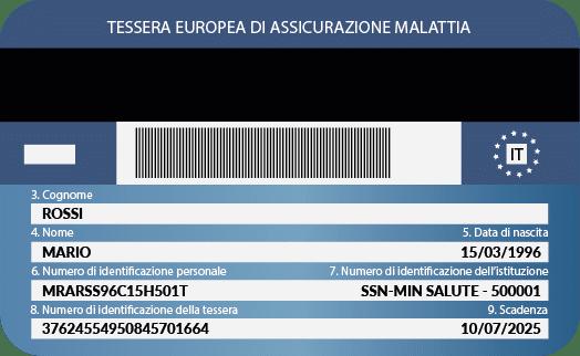 Tessere Sanitaria Europea (TEAM) Esempio